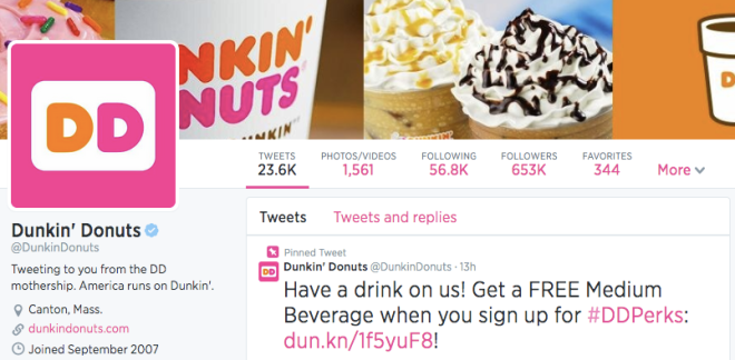 Dunkin' Donuts Twitter Followers