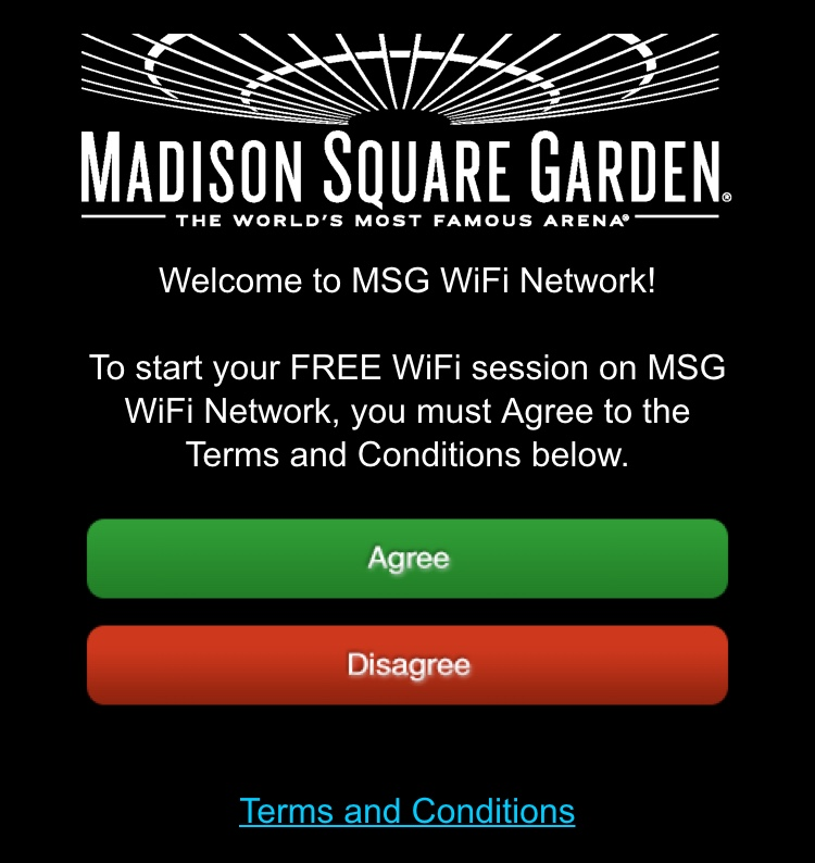 Madison Square Garden WiFI NYC